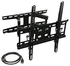 full motion tilting dual arm tv wall mount bracket with extendable arm