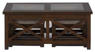 jofran xavier birch cocktail table with x side and 2 castered nesting ottomans