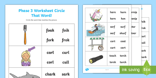 Phonics worksheets by level, preschool reading worksheets, kindergarten reading worksheets, 1st grade reading worksheets, 2nd grade reading wroksheets. Or Ur And Ar Circle That Word Worksheet