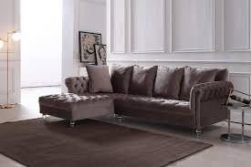 Light Grey Velvet Sectional Divani Casa Temple Modern Light Grey Velvet Sectional Sofa
