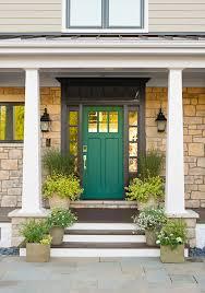 front door green color steps house