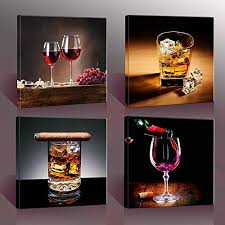 nuolan art home decor canvas wall art 4 panels canvas prints wine pictures wine whisky framed wine wall art for home decorations p4s3030 003 on wine bar wall art with home bar decor amazon