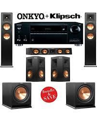 onkyo home theater system. klipsch rp-280f 5.2 reference premiere home theater system with onkyo tx-rz610 7.2