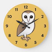 barn owl large round wall clock cute