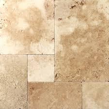 frech pattern mocha travertine tumbled tile