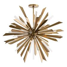 astoria grand starburst chandelier  brass  plantation