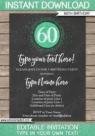 60 birthday invitations chalkboard 60th birthday invitations template editable