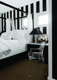 bedroom, Black And White Bedroom With Streaky Wallpaper Closed Little Glass  Window And Comfortable Bed