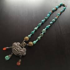 details about large fine antique chinese silver pendant turquoise nugget agate beaded necklace