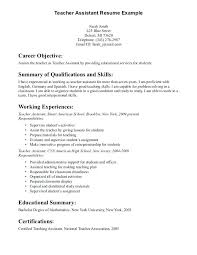 Teacher Assistant Resume Objective Instructional Assistant Resume