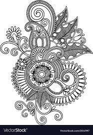 Draw A Design Hand Draw Line Art Ornate Flower Design