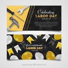 Labor Day Free Online Labor Day Banners With Balloons And Tools Vector Free Download