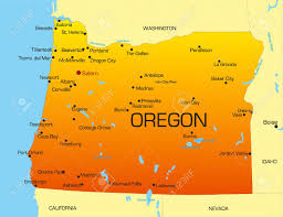 vector color map of oregon state usa royalty free cliparts