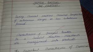 quick notes of chemical reaction and equations class 10