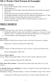 Mla Works Cited Format Examples Pdf