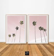 pink palm tree print set of 2 photo