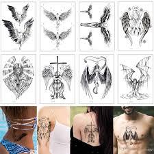 черный эскиз крыло татуировки Sexy Angel Cross смертокрыл поддельные временные боди арт