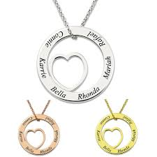 amxiu custom family name letters 100 925 sterling silver pendant jewelry round heart pendant necklace