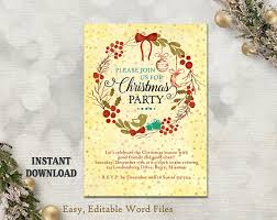Printable Holiday Party Invitations Printable Christmas Party Invitation Template Wreath Holiday