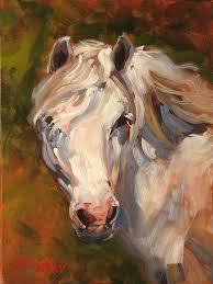 beautiful original oil painting by stephen filarsky white pony horse art made