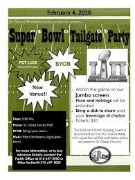 Super bowl office party ideas Party Decorations St Clare Of Montefalco Parish Super Bowl Party 2018 St Clare Of Montefalco Grosse Pointe Park Mi