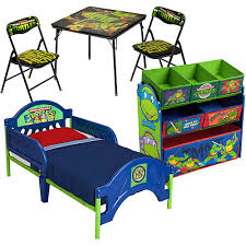 Nickelodeon TMNT Ninja Turtles Toddler Bed and Toy Storage with BONUS Table and Chair Set - Walmart.com