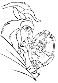 mirror coloring pages for kids. See Belle From The Mirror Coloring Pages - Beauty And Beast : KidsDrawing For Kids K