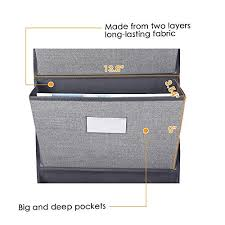 Over The Door Hanging File Organizer Wall Mounted Office Supplies Storage Holder Pocket Chart For Magazine Notebooks Planners File Folders 5 Large