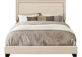 Melina Cream Queen Upholstered Bed Queen Beds White