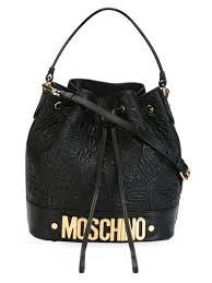 Lyst - Moschino Logo Embossed-Leather Bucket Bag in Black