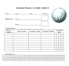 Basketball Score Sheets Printable Basketball Score Sheet Free Template Strand