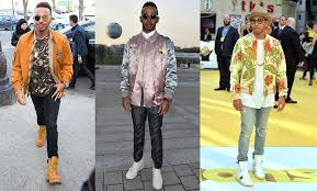 when wearing colour or two tone the shorter guy needs to keep the colour and light shades up top in maintaining a vertical line from toe to head mix