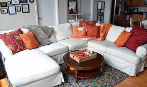 diy sectional slipcovers. Orange And Red Family Room Diy Sectional Slipcovers