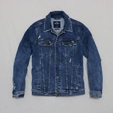 Details About Hollister Men Ripped Stretch Denim Jeans Jacket Size M L Xl New With Tags