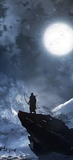 Archer, deer, moon, night, mountains ...