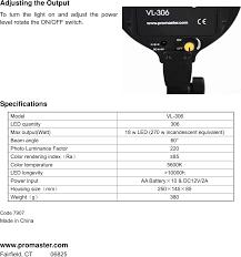 Promaster Led Studio Light Vl 306 Promaster Led Studio Vl306 Users Manual