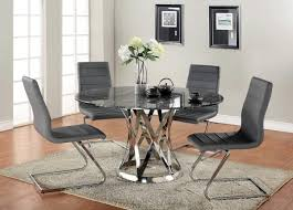 kitchen dining round glass table for small room astounding decoration with tops and black leather chair