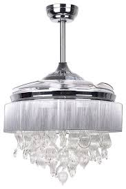 decorative crystal chandelier with fan function and remote controlled