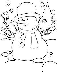 Small Picture Winter Snowman Coloring Pages funny snowman in the snowy field