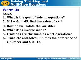 holt algebra 1 2 3 solving two step and multi step equations warm