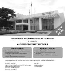 tmp tech is looking for automotive instructors