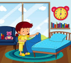 make bed clipart. Beautiful Bed Girl In Yellow Pajamas Making Bed Bedroom Illustration To Make Bed Clipart N