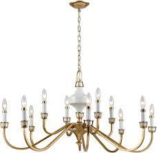 elk 33054 12 ceramique antique gold leaf ceiling chandelier loading zoom