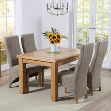 yorkshire solid oak 130cm extending dining table with 6 henry tweed chairs