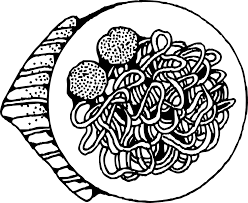 dinner clipart black and white. onlinelabels clip art - spaghetti and meatballs dinner clipart black white b