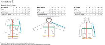 Size Chart For Mens Hemp Hoodlamb 2012 2013 Winter Range