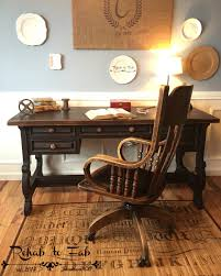 Executive desk & antique oak library chair from 1920's. Painted in  @heirloompaint Black Bean
