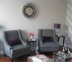 gray living room chairs. chic gray \u0026 purple living room design with soft walls, curvy chairs, velvet pillows, mirrored accent tables and horchow porcupine quills chairs