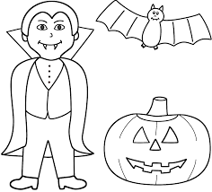 Small Picture Vampire with pumpkinjack o lantern and bat Coloring Page