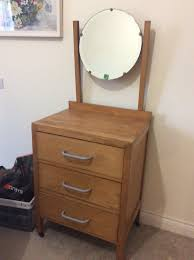 small dressing table with round mirror antique solid wood